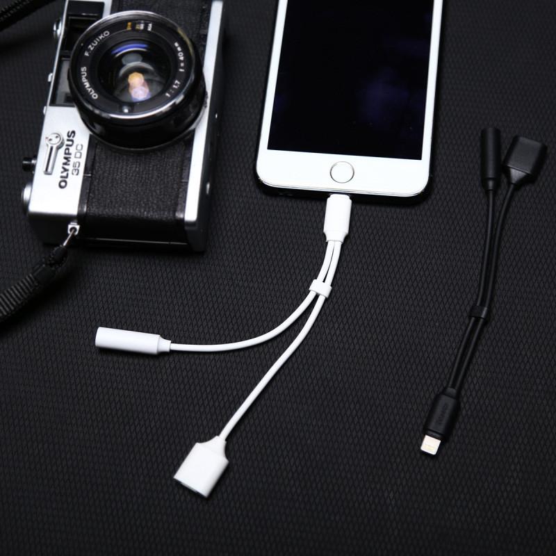 Original Baseus L35 C-Simple Male To 3.5mm Female Adapter For iPhone 7/7 Plus PB-201