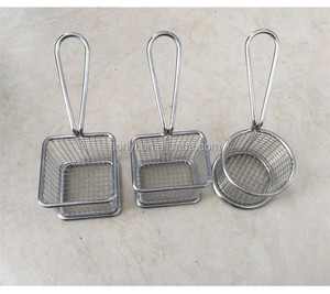 Mini table serving square stainless steel mesh fry basket french potato chips frying basket