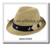 Hot sale Fashion Girl ribbon straw hat with bowknot QSHSC32803