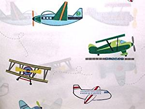 lil dickens 4-pc FLYING AIRPLANES TWIN SIZE Quilt Set SET INCLUDES: QUILT + SHEET SET (bi-planes, planes cargo) reversible