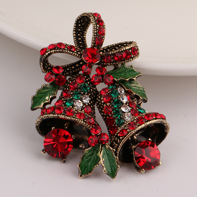 KQSP004 Trade Assurance Christmas Decoration Pin Jingle Bell bowknot Crystal Rhinestone flashing brooch