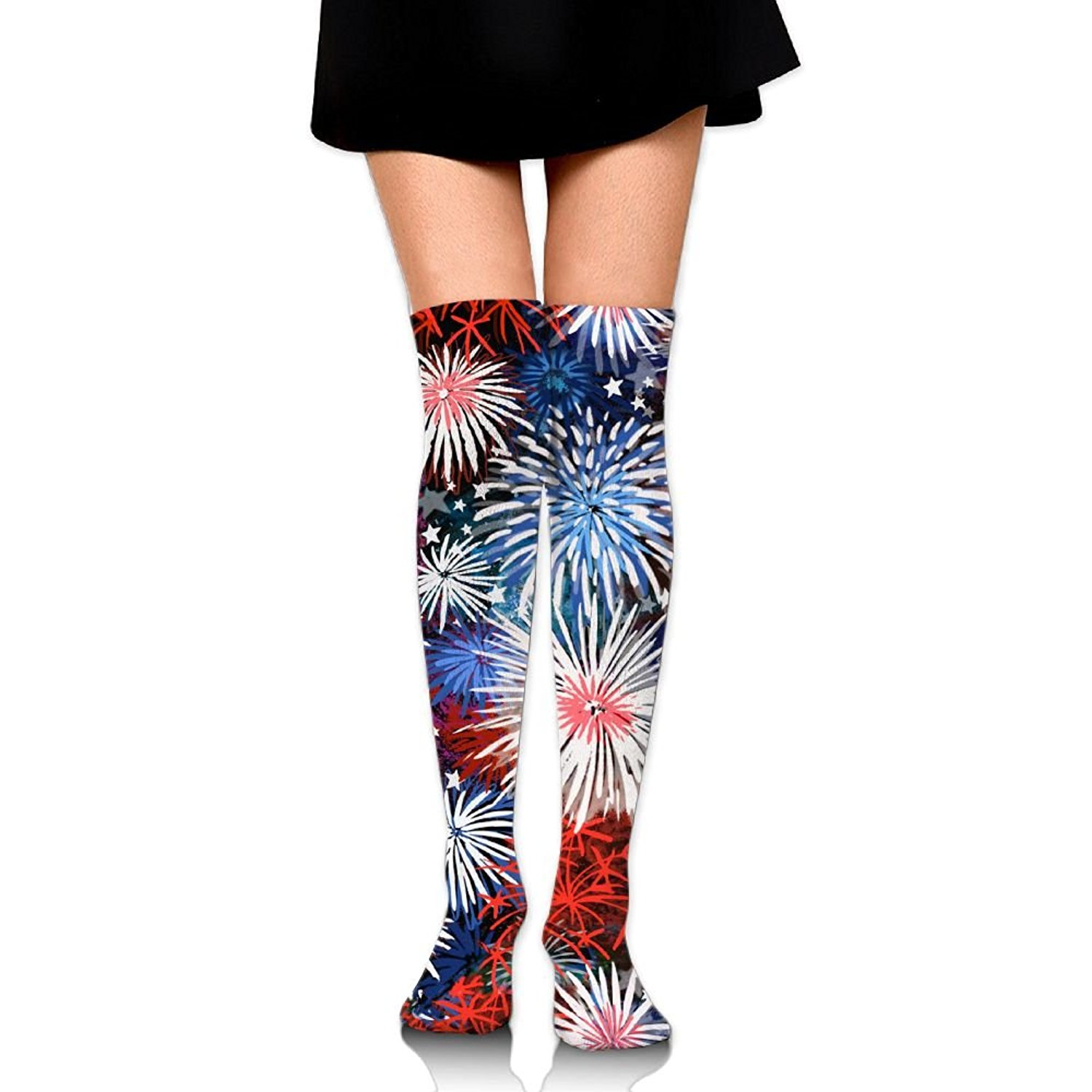 Zaqxsw Fireworks Women Retro Thigh High Socks Cotton Socks For Ladies