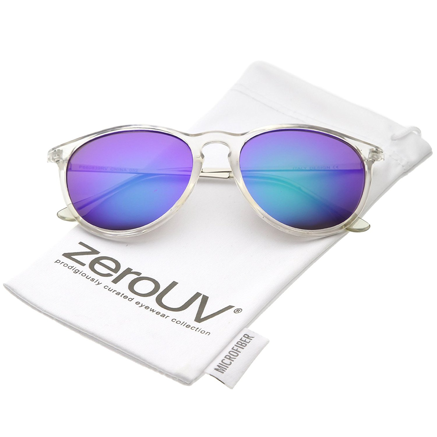f6480fdc888 Get Quotations · zeroUV - Modern Metal Arms Round Mirrored Lens Horn Rimmed  Sunglasses 52mm