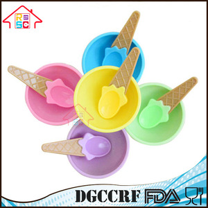 NBRSC Kids Child Vibrant Colors BPA Free Plastic Waffle Cone Bowls Ice Cream Dessert Cup Spoons Set
