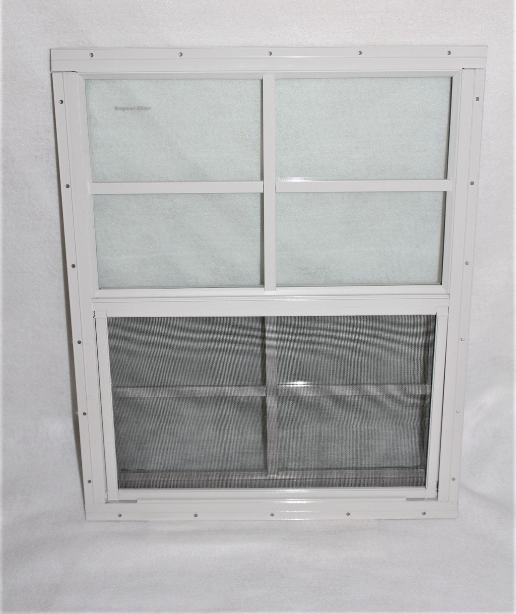 Shed Window 18 X 23 White J-Channel Mount Safety//Tempered Glass Storage Shed Playhouse