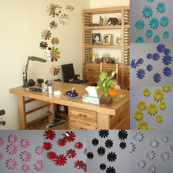 Multi Colors Mirror Wall Stickers Nice Home Decoration Flower Sticker Decor Diy Special Offer