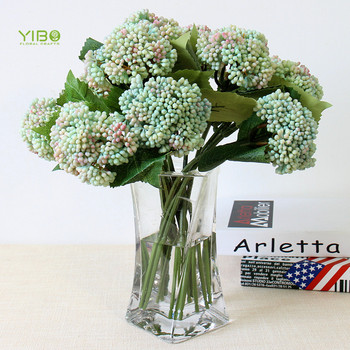 Wholesale Bset Looking Soft Plastic Artificial Light-Blue Hydrangea Flowers