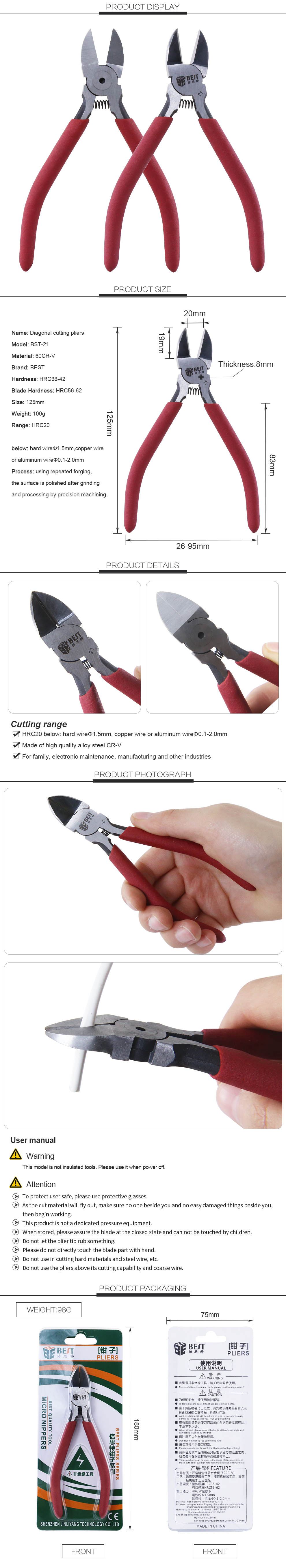 BEST-21 Manufacturer Factory Direct Sales Professional Chrome Vanadium PVC Diagonal Cutting Pliers Types of Holding Tools Pliers