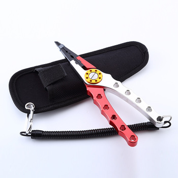 Manufacture directly sale aluminium fishing scissors pliers with sheath and lanyard,Multifunctional aluminum alloy lure Pliers
