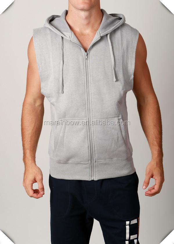 Grey Plain Cotton Fleece Mens Raw Cut Off Sleeveless Zip Up ...