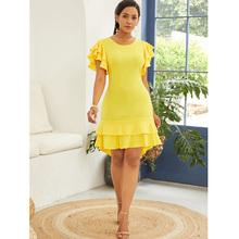 63954b131b8d 2019 Women Office Dress Irregular Ladies Yellow Girl Ruffle Evening Summer  Bodycon Mini Dress Clubwears Vestidos