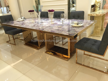 Dh-1447 Big Size Rose Golden Stainless Steel Dining Room Table