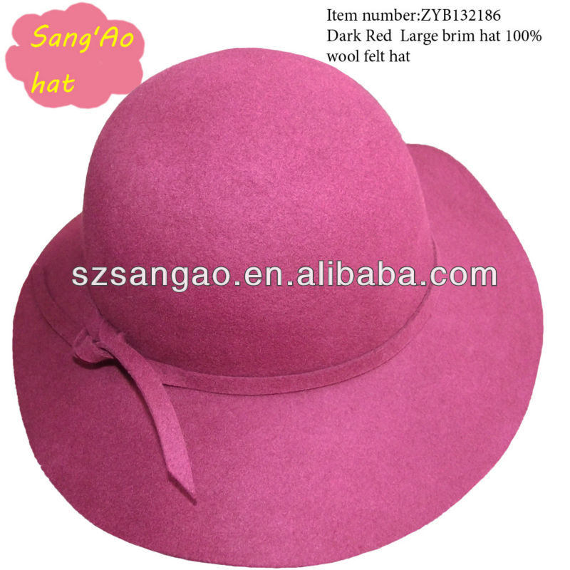 Customized fashion large ladies wool felt derby hat female wear lana sombrero cap in festival/Party/Winter/lady new designs