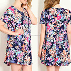 india boutique wholesale dress 95% POLYESTER 5% SPANDEX FLORAL PRINT TRAPEZE TEE DRESS Beach Wear Tunic