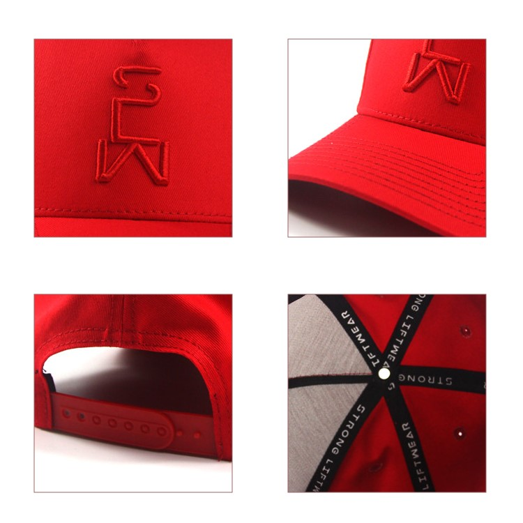 China Factory Multi Color 100%Polyester Custom Embroidered  Red Baseball Cap