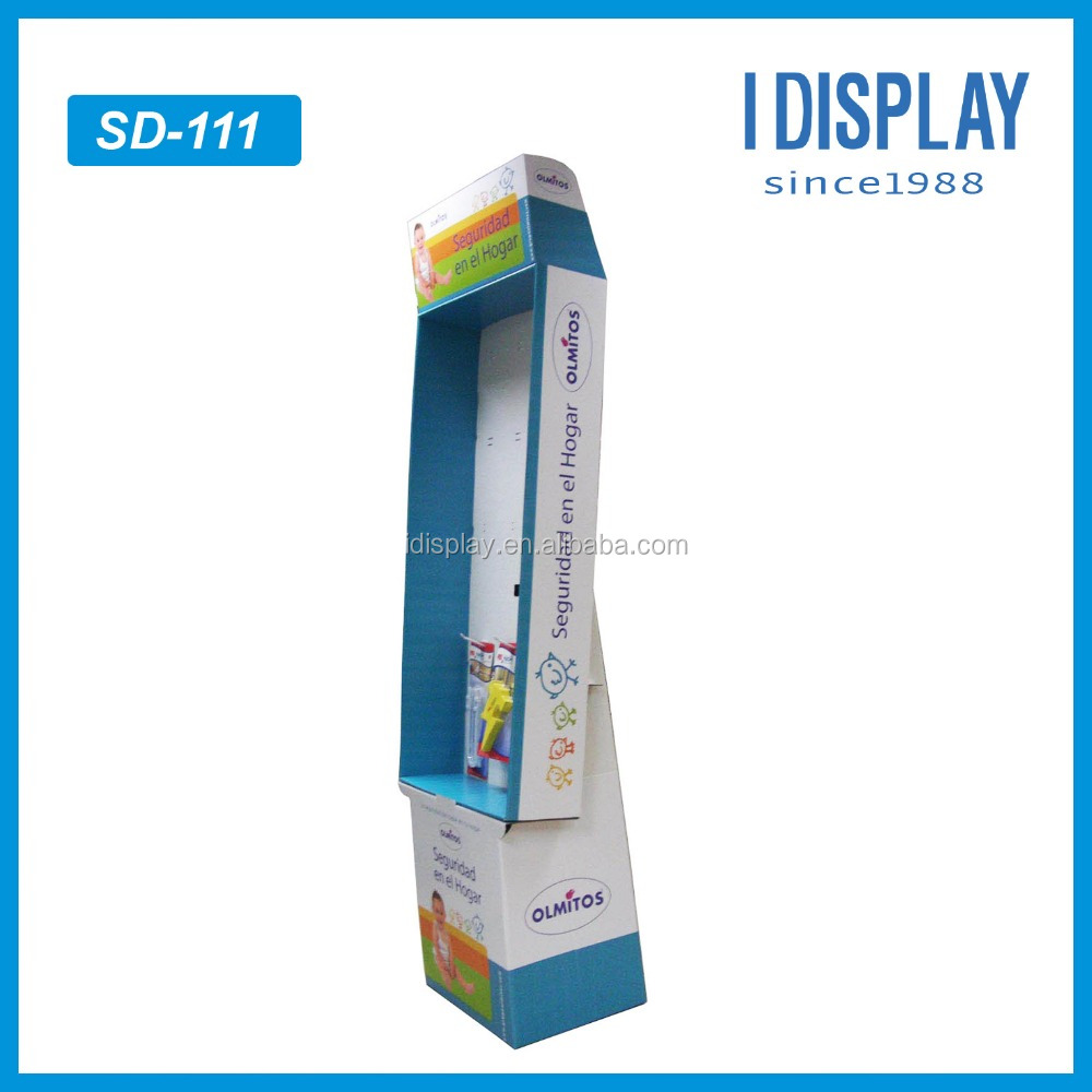free standing baby peg cardboard display stand, palstic hook display
