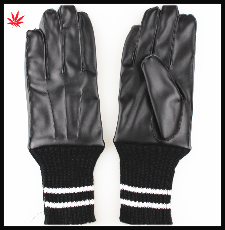 men's fashion warm black PU gloves with Knitting looping
