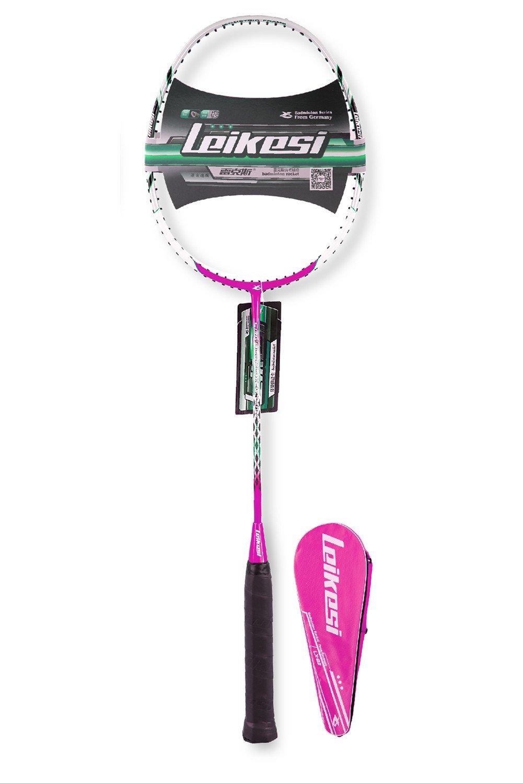 LeiKeSi Carbon Fiber Integrated Single Purple Badminton Racket With Line