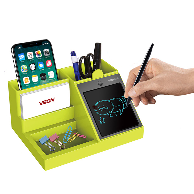 VSON Multifunctional Office Desk Desktop Organizer WP9303B NEW Style Pen Container with LCD Writing Tablet