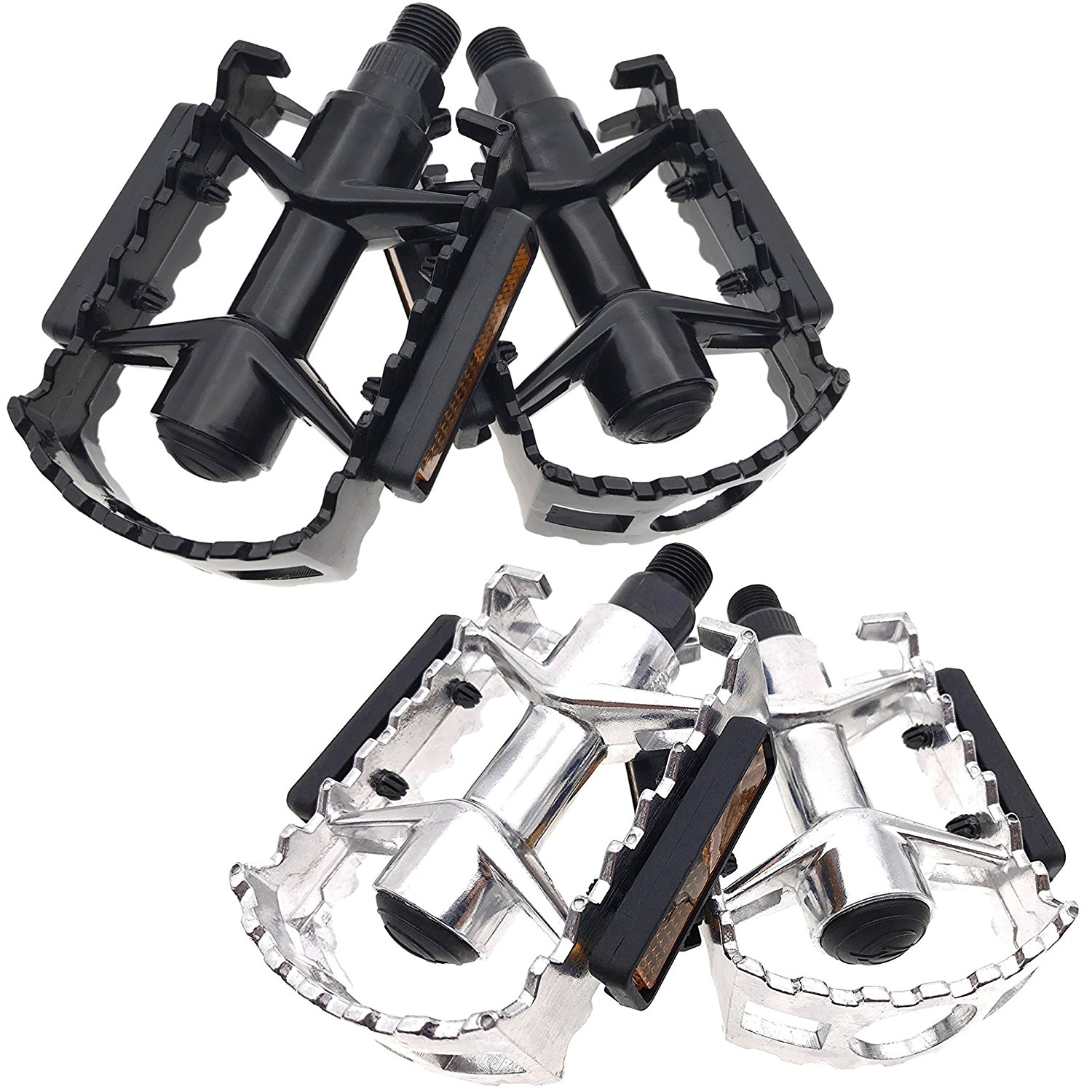 """ARTHEALTH Bicycle Pedals Bike Pedals Aluminum Alloy 9/16"""" Inch Black/Silver High Performance Pedals for Bikes Mountain Bikes Road Bicycles Platform Pedals MTB Pedals"""