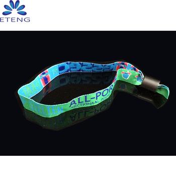 Moda usa e getta braccialetti tessuto, evento Personalizzato Wristband  tessuto con bloccaggio a scorrimento