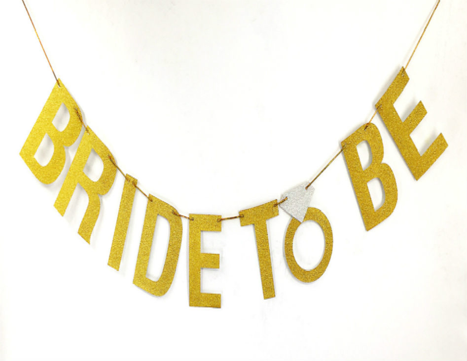 Wholesale Custom Bride To Be Glitter Gold Letter Banner String Flag For Party Decoration