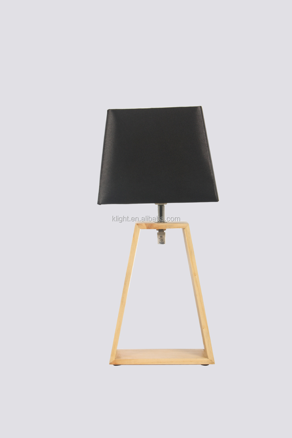 Wood Table Lamp,Trapezoid Wood Base And Fabric Lampshade