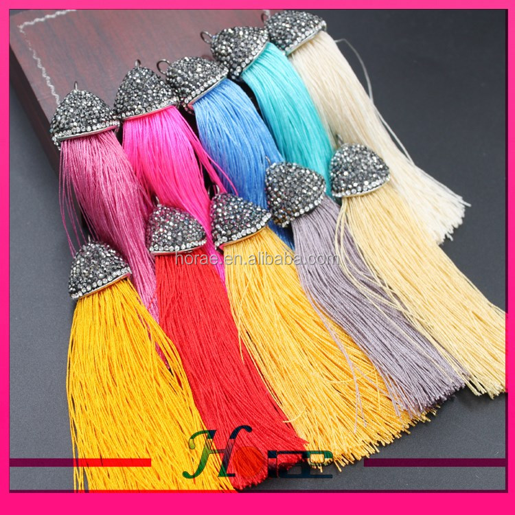 High quality silk tassel with rhinestone cap Dangle for jewelry making