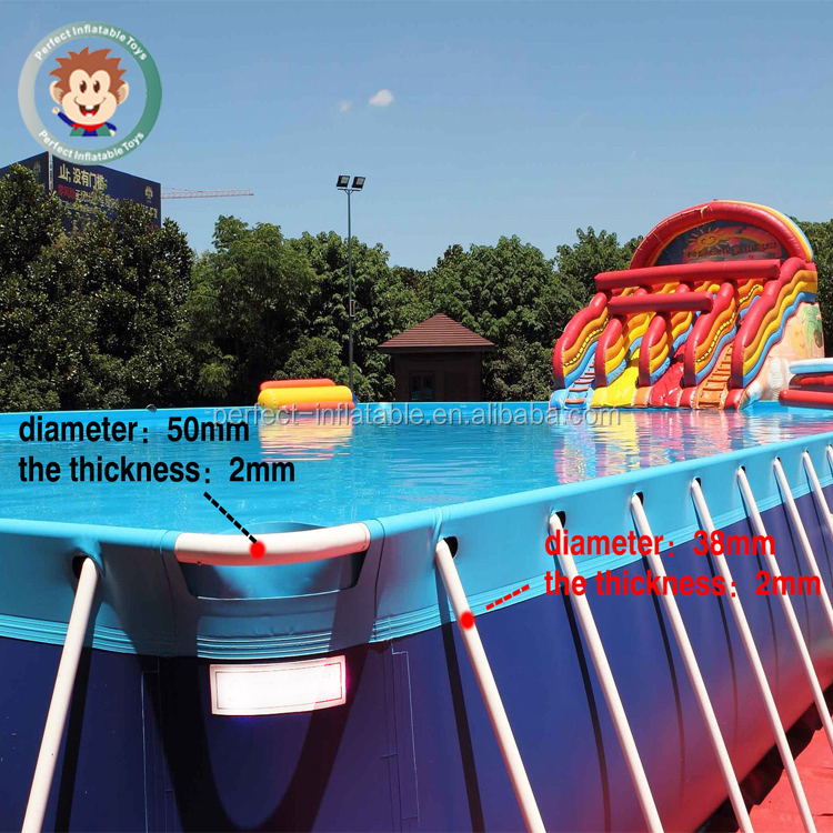 Comfortably outdoor PVC large inflatable swimming pool with holders for sale