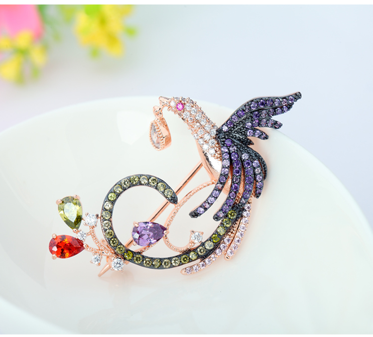 LUOTEEMI Hot Unique Design 18K Rose Gold Plated Multi Cz Micro Pave Setting Phoenix Bird Animal Brooches