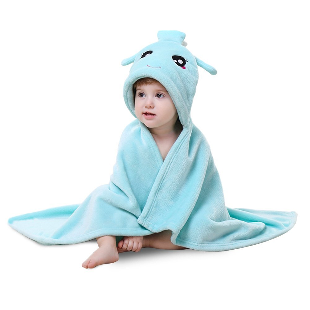 Lee D.Martin Baby Hooded Towels,Baby Hooded Cloak Blanket,Flannel Hooded Mantle,Super Soft and Comfortable Shawls Quilt,Kid's Cloak Baby Hooded Towels,Aquarius Towel Cape,31.5x35.5inches,Light Blue