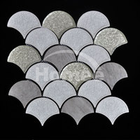 New design crystal glass fish scale mosaic tile for interior wall decoration