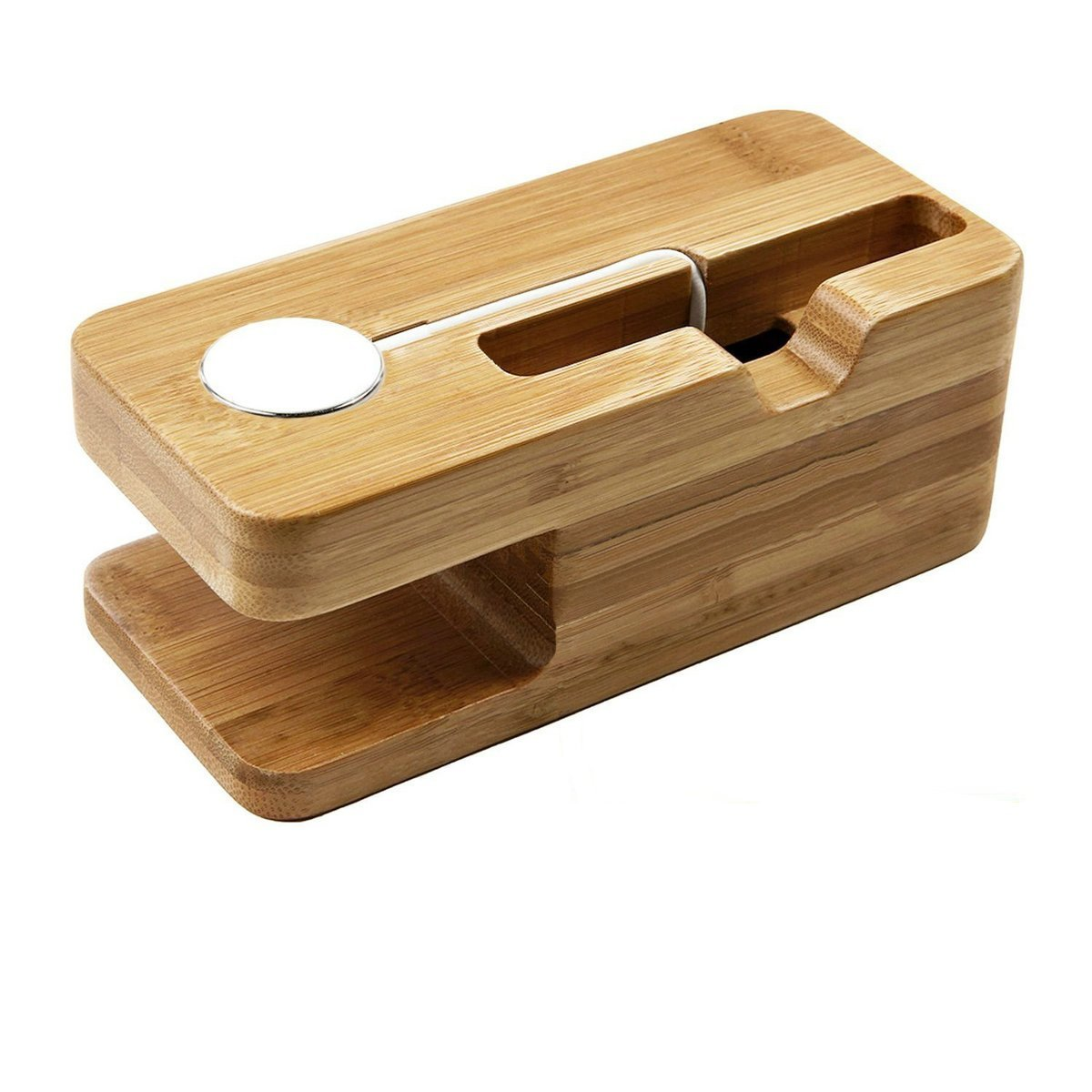 Moonsix iWatch Bamboo Wood Charging Stand Bracket Docking Station Stock Cradle Holder For Apple Watch iPhone