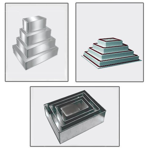 4 Tier Professional Rectangle Multilayer Birthday Wedding Anniversary Cake Tins Pans by EURO TINS