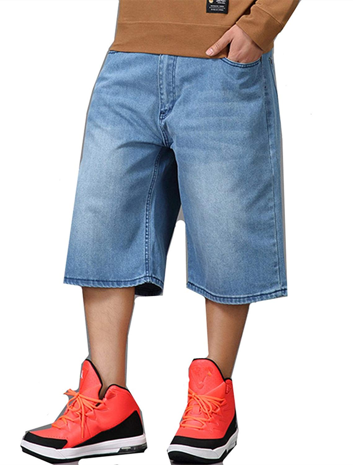 ab4fffe652b WoowTry Men s Multi-Style Nightclub Denim Shorts Cargo Shorts Hip Hop Baggy