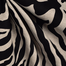 Zebra Black/오트밀 100% Linen Fabric digital printed