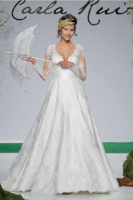 vestido de novia blanco hijab profundo escote en v de encaje vestido