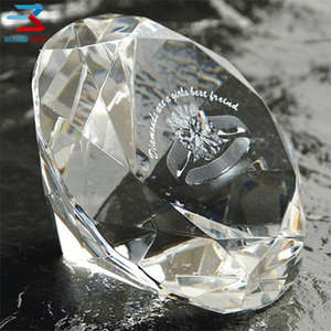 80mm clear big stone crystal glass diamond paperweight wholesale