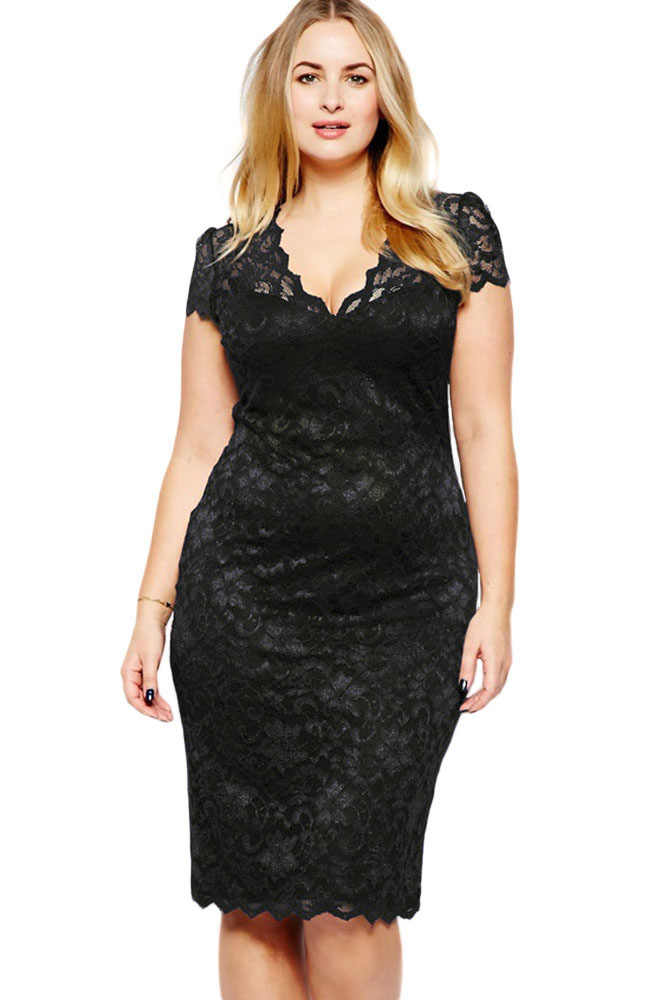 Plus Floral Lace Pencil Cocktail <strong>Dress</strong> for Fat Women