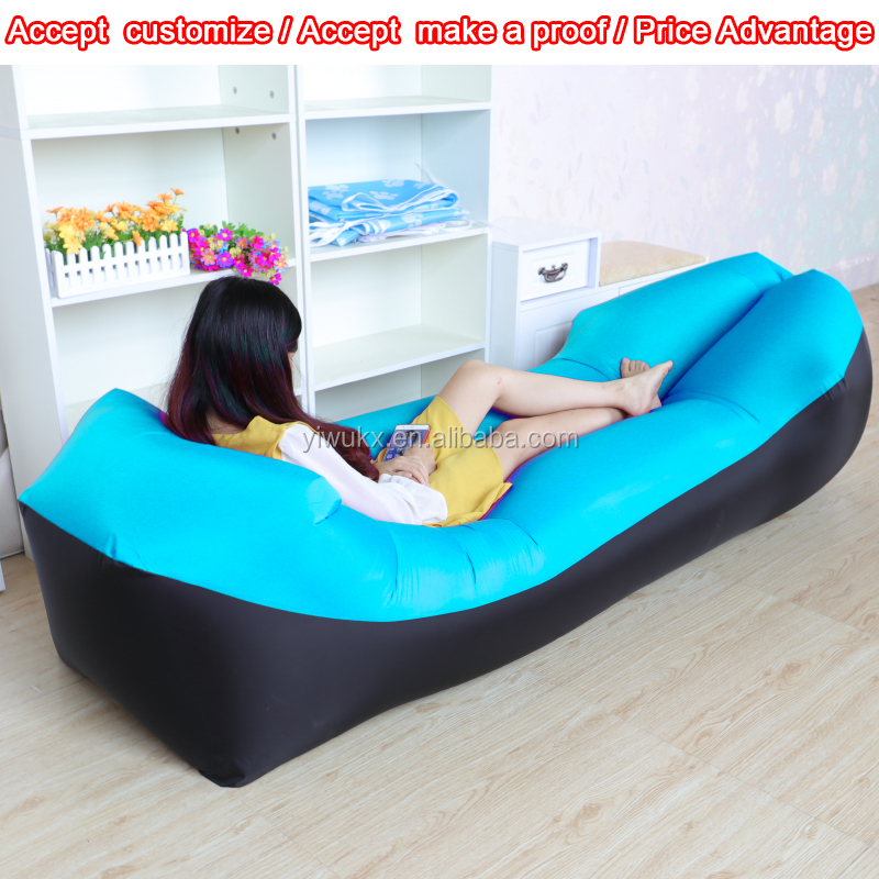 Summer camping swimming sleeping lounger bed inflatable air sofa bag folding beach chair