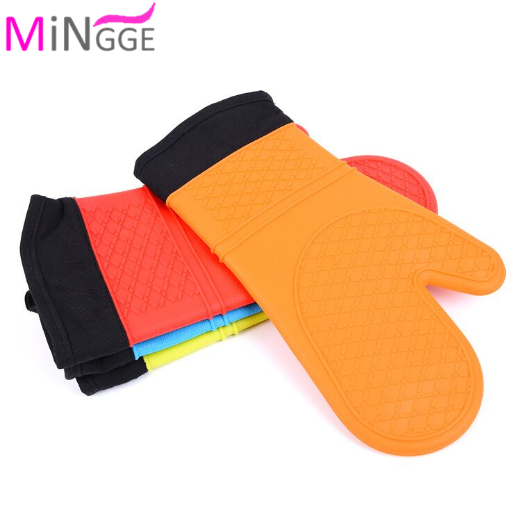 super Long Oven Mitts with Non-Slip Silicone Grip - Heat Resistant Kitchen Oven Gloves