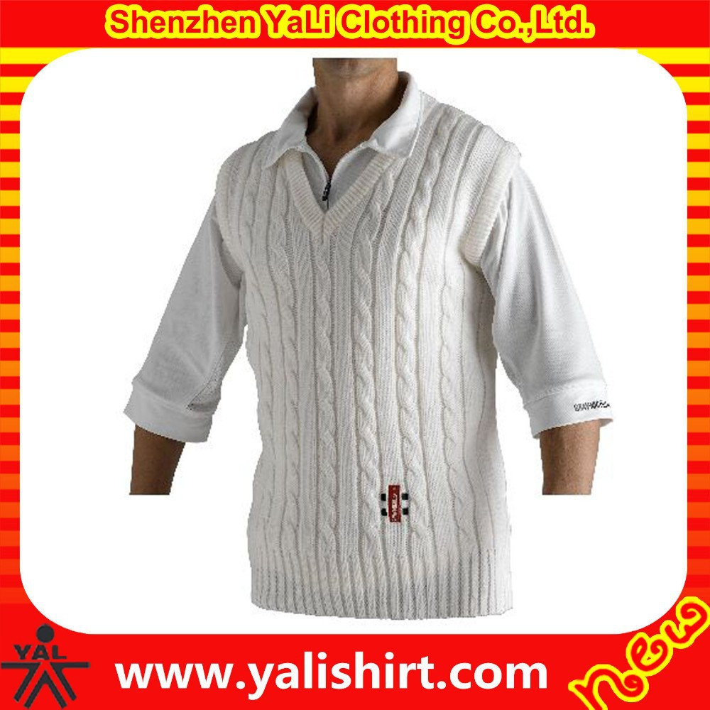 High quality stylish comfortable 100%cotton embroidery new design fitness  men knitted cricket sweater vest ab24ddc17