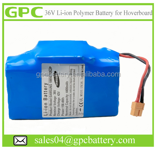 UL Certificate Effective 36V Battery Pack for Hoverboard Rechargeable Lipo 4400mah Battery
