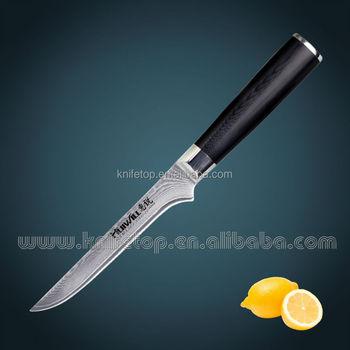 6anese Vg10 Damascus Boning Kitchen Knife With Dark Green Micarta Handle