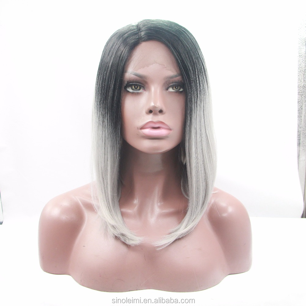 efd5be1c05e0b أومبير قصيرة بوب الباروكات للنساء السود 14 inch الجزء الأوسط أومبير الظلام  الجذر الطبيعي مستقيم تسريحات