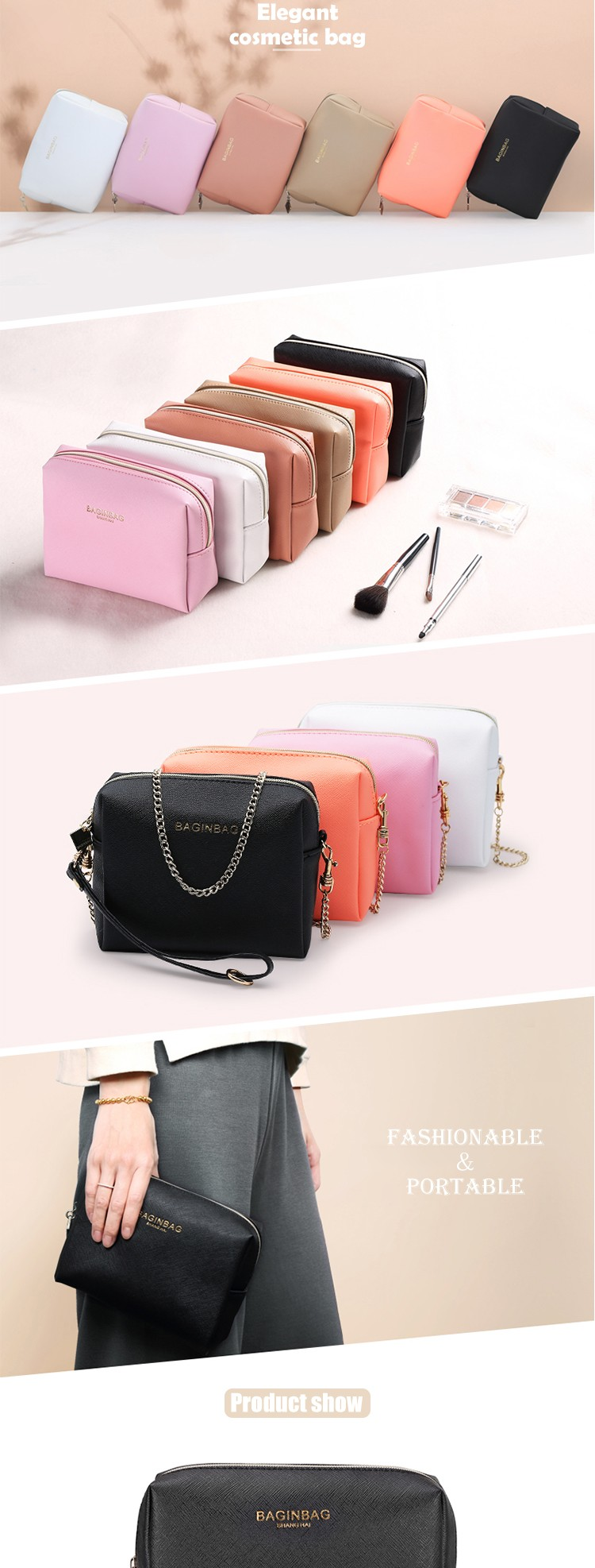 Branded promotional designer beautiful cute zipper toiletry pouch cosmetic  bag 83169eb7d2