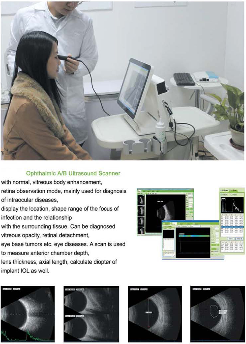 Ophthalmic Eye Ultrasound B Scan Biometer Pachymeter