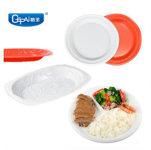 10 inch compartment Round plate 7 inch color white PS dessert wholesale dinner snack plate disposable plastic plate