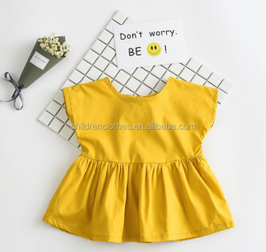 Wholesale Flower Ruffle Mustard Baby Handmade Dresses Pure Colour Cloth