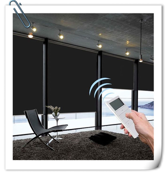 Indoor window blinds electric remote control automatic 100%blackout motorised Roller Blinds for home